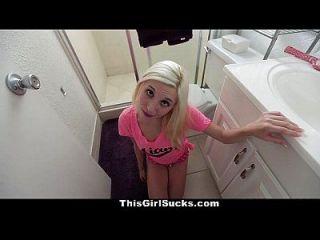 Thisgirlsucks тощая блондинка наполняет огромный член в рот