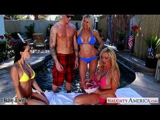 сексуальные жены Emma Starr, Jessica Jaymes и Nikki Benz Sharing Cock