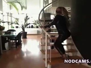 женщина кошка играет с ее большой олухи & задир